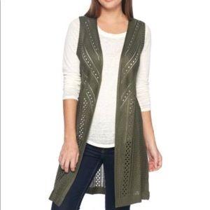 New Mural Olive Green Crochet Long Vest